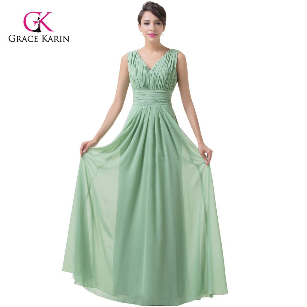 ᗐGrace Karin Dark Sea Green Chiffon Long Prom Dresses 2018 Ruched ...