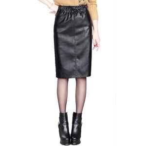 Image 5 - تنورات نسائية من جلد البولي يوريثان 2019 تنورة جديدة للخريف والشتاء تنورة متوسطة الطول بخصر مطاطي للنساء مقاس كبير M 4xl