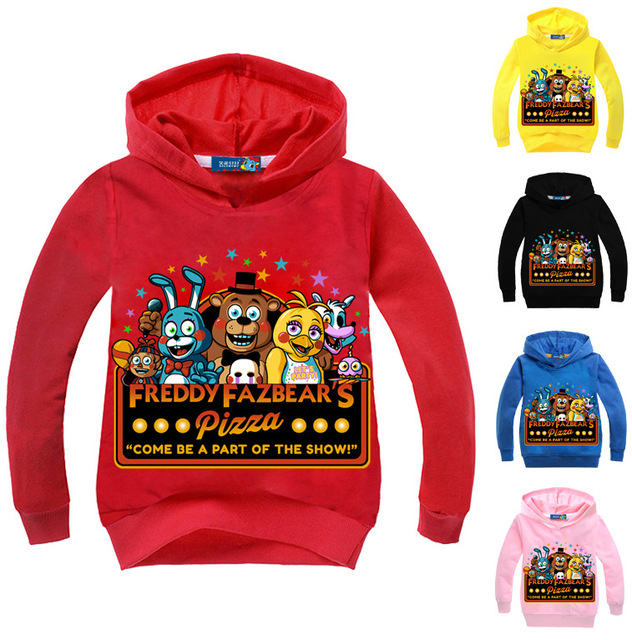 Five Nights At Freddy Tops Hoodies 2018 Spring Hooded T Shirt Kids Boys Clothes Sweatshirt Bear Cartoon Top Tees Baby Costumes