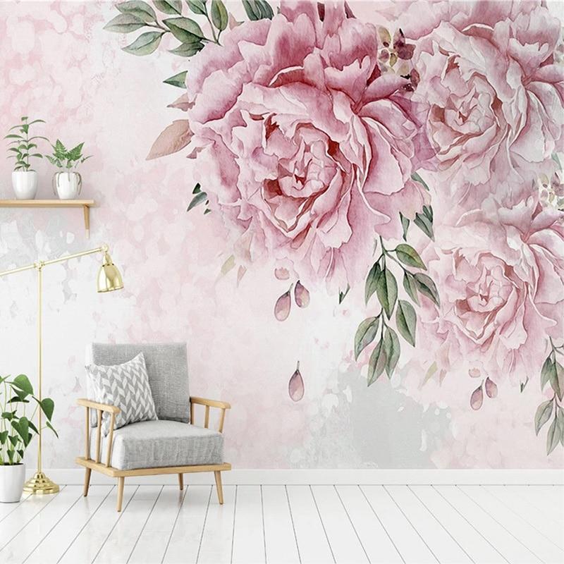 Custom Photo Wallpaper Modern 3D Hand Painted Flowers Murals Living Room Bedroom Romantic Home Decor Wall Papers Papel De Parede
