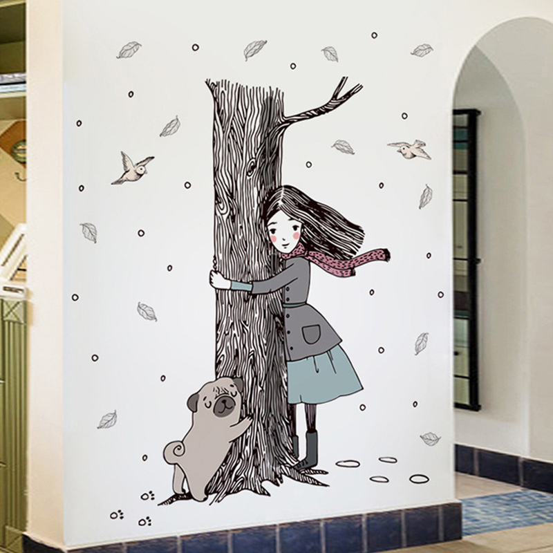 New Girl Holding the Tree Wall Stickers Home Decor Living Room Tree Dog Wall Art Decals Self-adhesive Literature and Art Poster