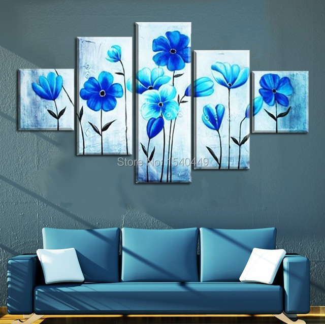 5 Panel Wall Art Cheap Hand Painted Paintings Blue Flower Pictures On Canvas  For Living Room
