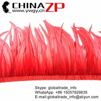 CHINAZP Factory New Arrival Prime Quality Retail Sale 30 35 cm Excellent Dyed Red Rooster Tail Feather Fringe