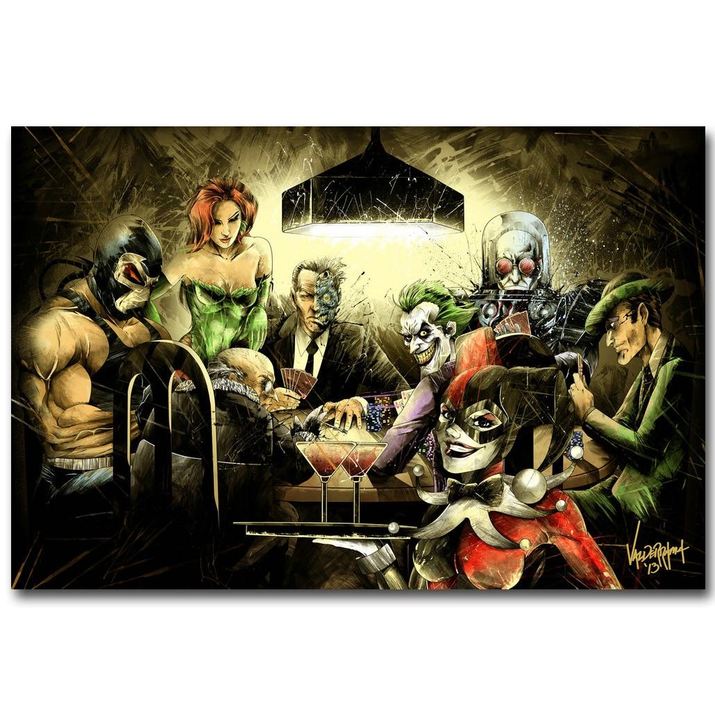 Joker Harley Quinn Poison Ivy Playing Poker Art Silk ...