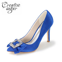 Elegant Lady Satin Dress Shoes High Heels With Soft Bow And Rhinestone Brooch For Wedding Party