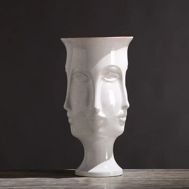 Ice Crack Glazed Human Head Ceramic Abstract Vase For Modern Home