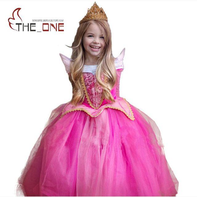 Meninas Princesa Da Bela Adormecida Aurora Cosplay Partido Vestidos Crianças Manga Comprida Roupas Traje Crianças Vestido Tutu para o Natal