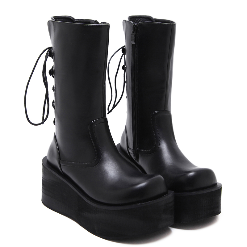 cc65bdec15e Demonia Style Women Black Boots Casual Mid Calf Wedges Platform High Heel  Boots Punk Gothic Shoes Lace Up Martin Boots-in Mid-Calf Boots from Shoes  on ...