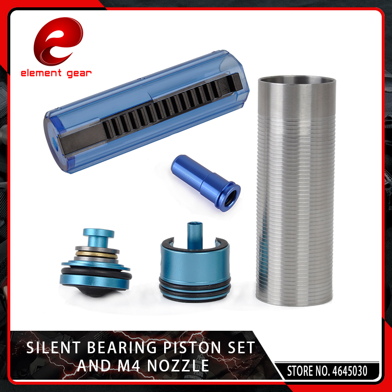 Element 5PCS Slient Bearing Cylinder/Piston Head/Nozzle /14/15 Teeth Pistol Set for M4/AK47 Series Airsoft AEG/GBB Hunting Parts-in Paintball Accessories from Sports & Entertainment