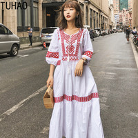TUHAO 2019 SPRING Autumn New Arrival Women Bohemian Long Maxi Dresses Puff Sleeve Red White Navy Boho Loose Dress Ladies JA229
