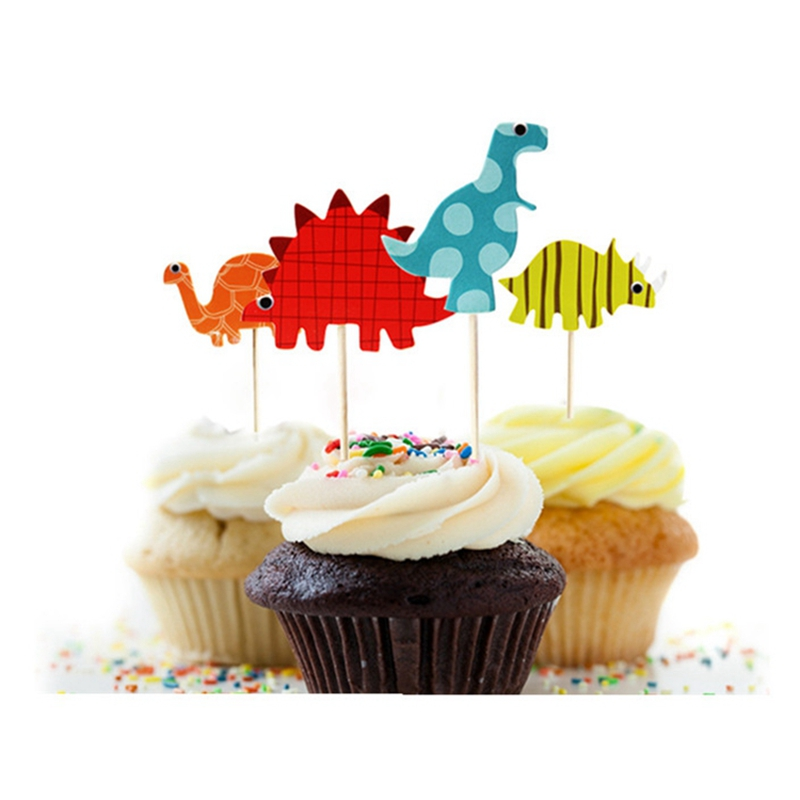 48pcs dinosaur cupcake toppers picks funny wedding cake for Baby footprints cake decoration