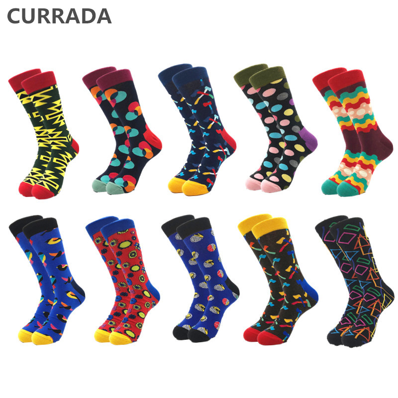 10pairs/lot Brand Men Happy Socks Quality Combed Cotton Colorful Funny Cartoon Sock Fashion Casual Long Male Compression Socks