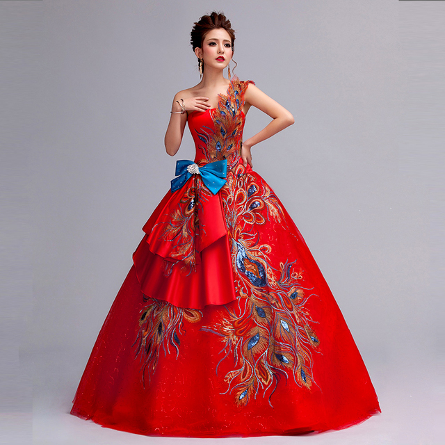 2016 new style red lace one shoulder flower Phoenix Feather bow ball ...
