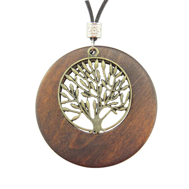 Alloy Life Tree Wooden Pendant Necklace Wood Fashion Necklace US Warehouse Stock drop shipping