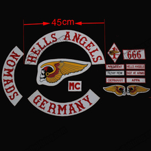 Hot Sale 15pcs/Set Large Size 45cm Wide HELLS ANGELS Embroidered Iron-On Patch Jacket and Vest Motorcycle Biker Patch Free Ship(China (Mainland))
