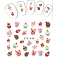 1pcs Delicious Cake Food Emoji Hot Fashion Nail Art Sticker Water Transfer Full  Beauty Decals Wraps Manicure Tools STZ444