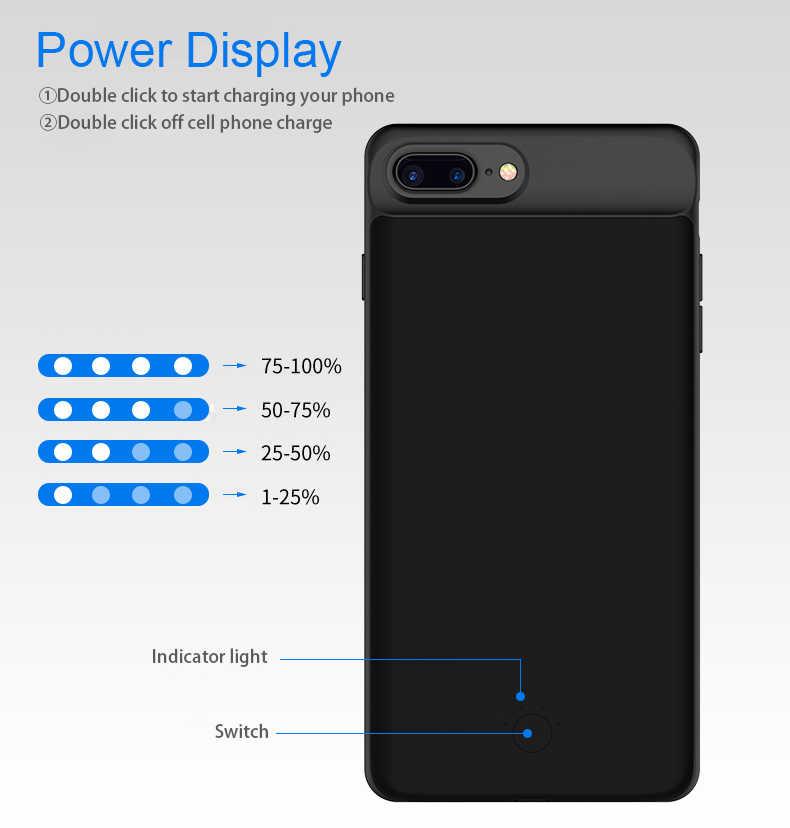 5000 mAh/7000 mAh Mince Ultra Mince Batterie de Téléphone étui pour iphone 6 6 s plus batterie externe Chargeur de Secours étui pour iphone 6 6 s 7 8 Plus