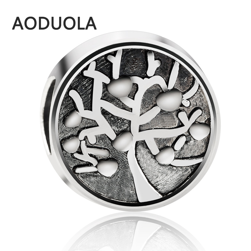 10 Pcs a Lot Life tree Beads Silver Plated Alloy DIY Big Hole Metal Spacer Bead Charm Fit For Pandora Charms Bracelet