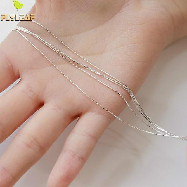 925 Sterling Silver Multilayer Chain Necklace For Women Women Simple Style Prevent Allergy Sterling-silver-jewelry Collier Femme