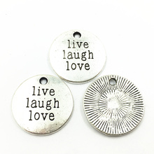 20Pcs Silver Tone Pendants For Bracelets Round Live Laugh Love Fashion Jewelry Craft DIY Findings Charms 20mm