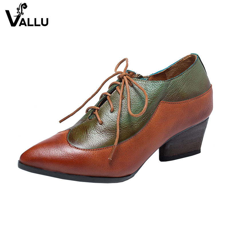 купить VALLU 2018 Genuine Leather Women Pumps Lace Up Pointed Toes Mixed Color Vintage Handamde ladies High Heel Shoes онлайн