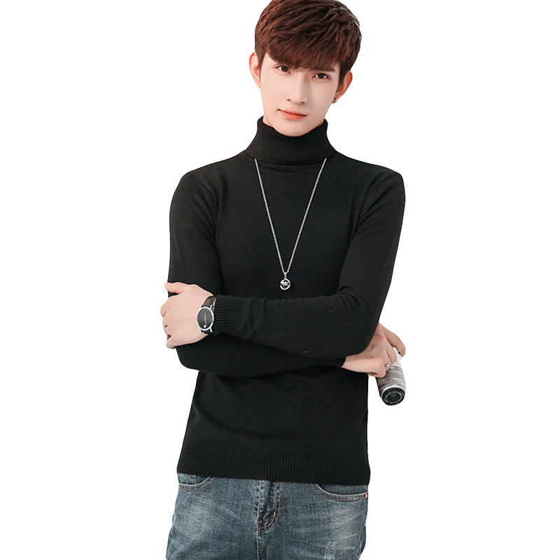 Men's Slim Turtleneck Sweater Solid Color Bottoming Knit Sweater Autumn Winter Black Warm Tight Male Turn-down Collar Sweater