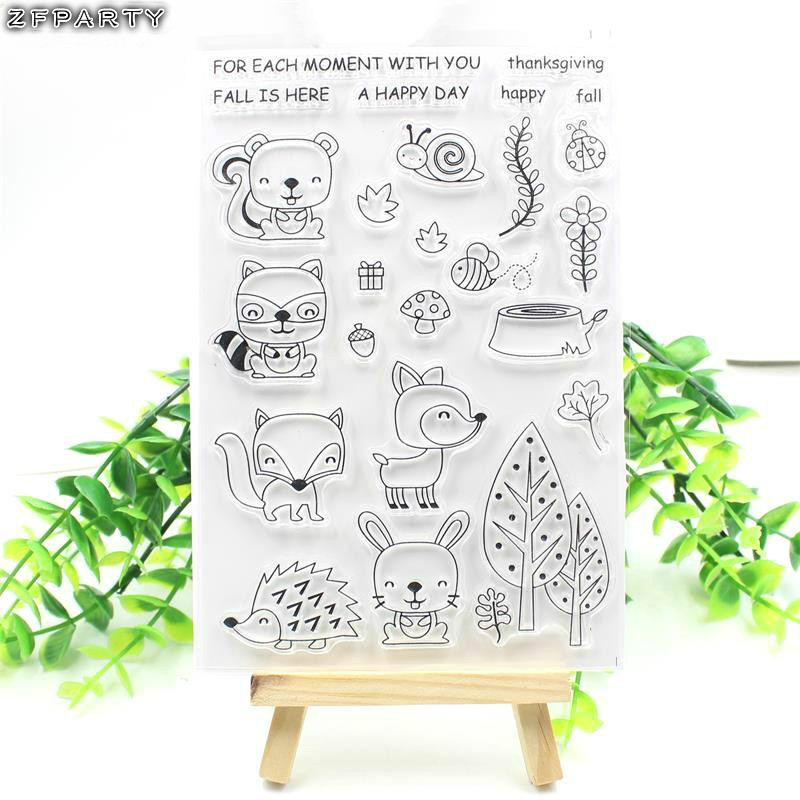 ZFPARTY Forest Animals Transparent Clear Silicone Stamp/Seal for DIY scrapbooking/photo album Decorative clear stamp sheets lovely animals and ballon design transparent clear silicone stamp for diy scrapbooking photo album clear stamp cl 278