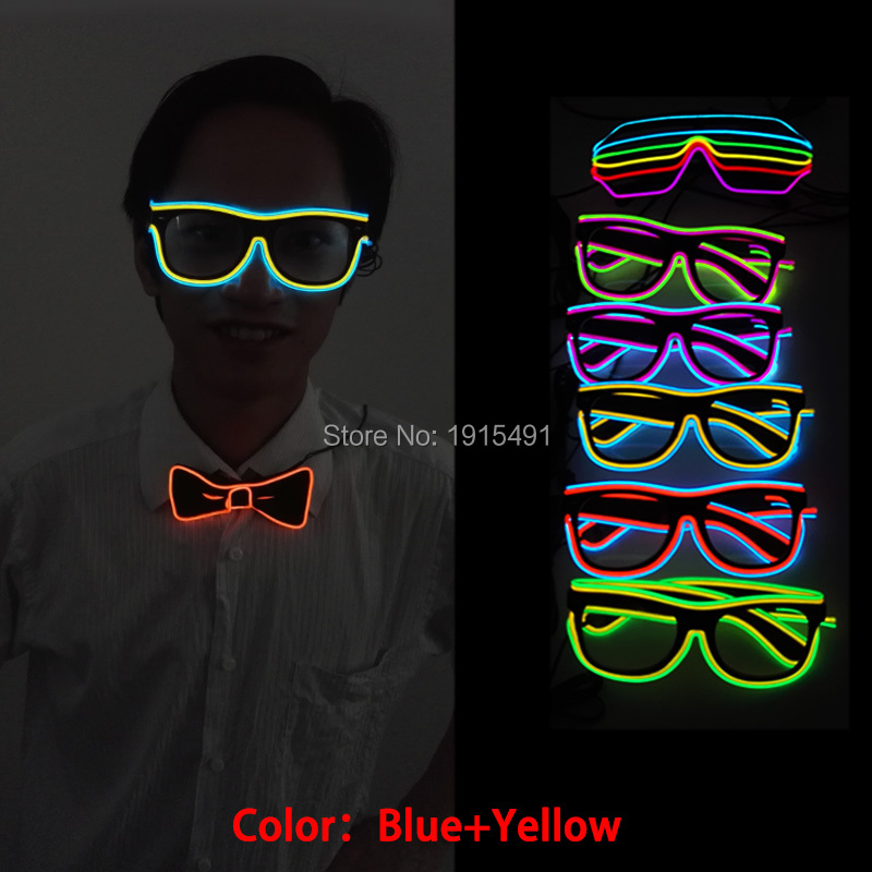 Double-Linear Graduation Party Neon Led Bulb Christmas Sunglasses Light Up EL Wire Rope Twinkling Eyeglasses for Fashion TV Show 3m neon el wire glowing string light