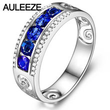 Luxurious Real Diamond Noble Sapphire Queen 14K White Gold Nutural Diamond Wedding Ring For Women Fine Jewelry Christmas Gifts