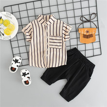 Summer Baby Boys Clothes Short Sleeve Striped Print Tops Blouse Shirt+Shorts Children boy Casual Sets