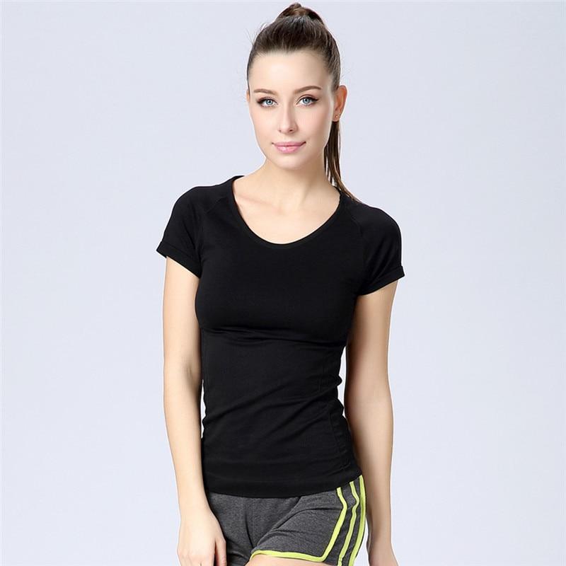 Women Gym Fitness Sports Women T shirts O Neck Stretch Tops