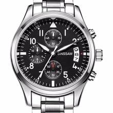 BINSSAW  New luxury brand top watch luminous waterproof leather quartz men s  military watches quartz-watch relogio masculino