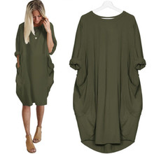Autumn Women Dress with Pocket Casual Ladies Crew Neck Loose