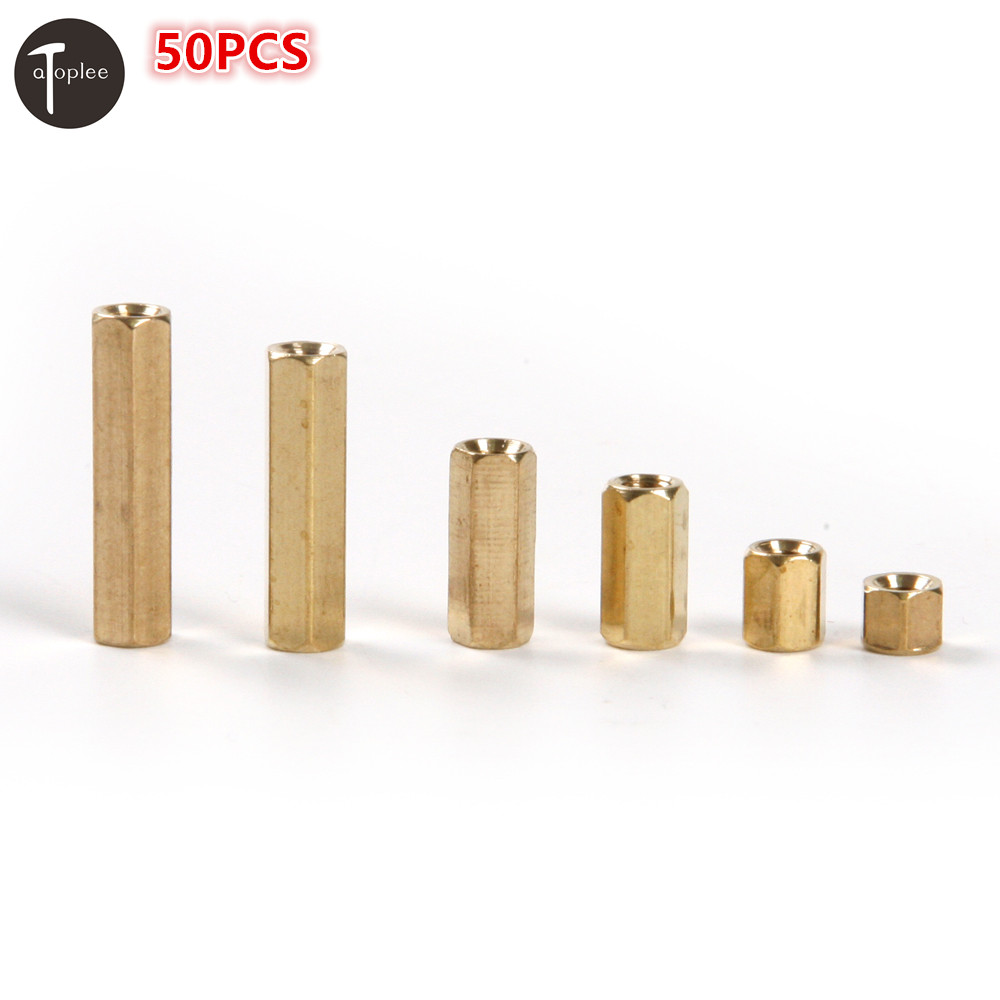 50PCS <font><b>M3</b></font>*4/6/10/12/18/<font><b>20mm</b></font> Hexagonal Net Nut Female Brass <font><b>Standoff</b></font>/Spacer NO469 For Mounting Computer Circuit Boards Assembly image
