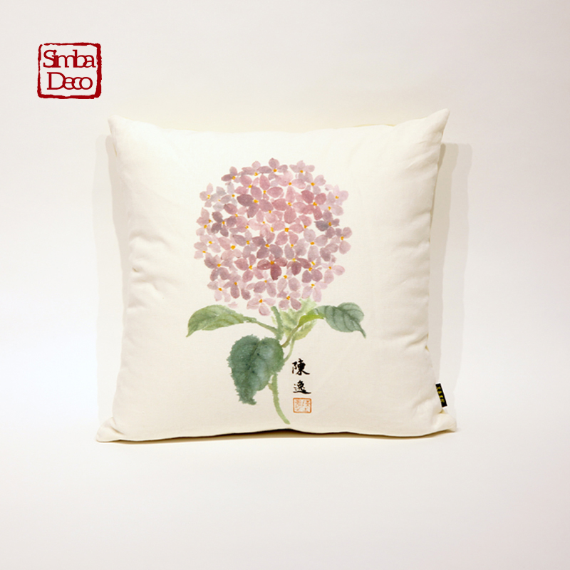 Chinese Landscape Painting Cushion Covers Flower Boat White Printed Comfortable Soft Throw Pillowcase For Sofa Seat Decoration