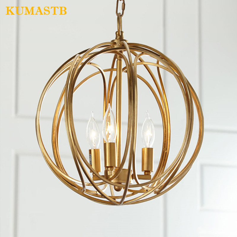 Golden Iron Chandelier Lighting American Style Rural Art Round Lighting Fixture Bedroom Living Room Art Deco Lamp 2017 luminaria american retro crystal iron chandelier living room bedroom restaurant golden vintage art lighting free shipping