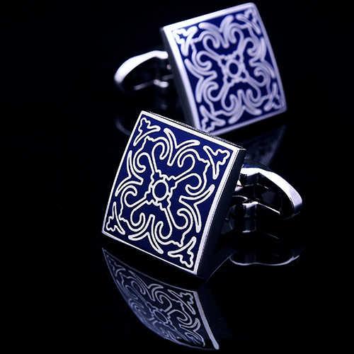 KFLK abotoaduras da camisa para homens Marca botões de punho abotoaduras de casamento Azul arte gemelos abotoaduras Designer De Jóias de Alta Qualidade