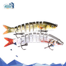Купить с кэшбэком 1PCS Fishing Wobblers 10 Segments lure 9.5cm 10.1g 3D eye Swimbait lure iscas artificiais sinking lure lifelike pesca jointbait