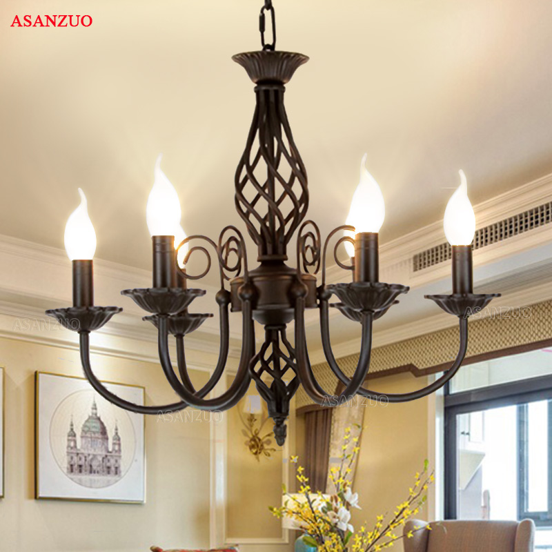 Candle Light Fixture: Vintage Wrought Iron Chandelier E14 Candle Light Lamp