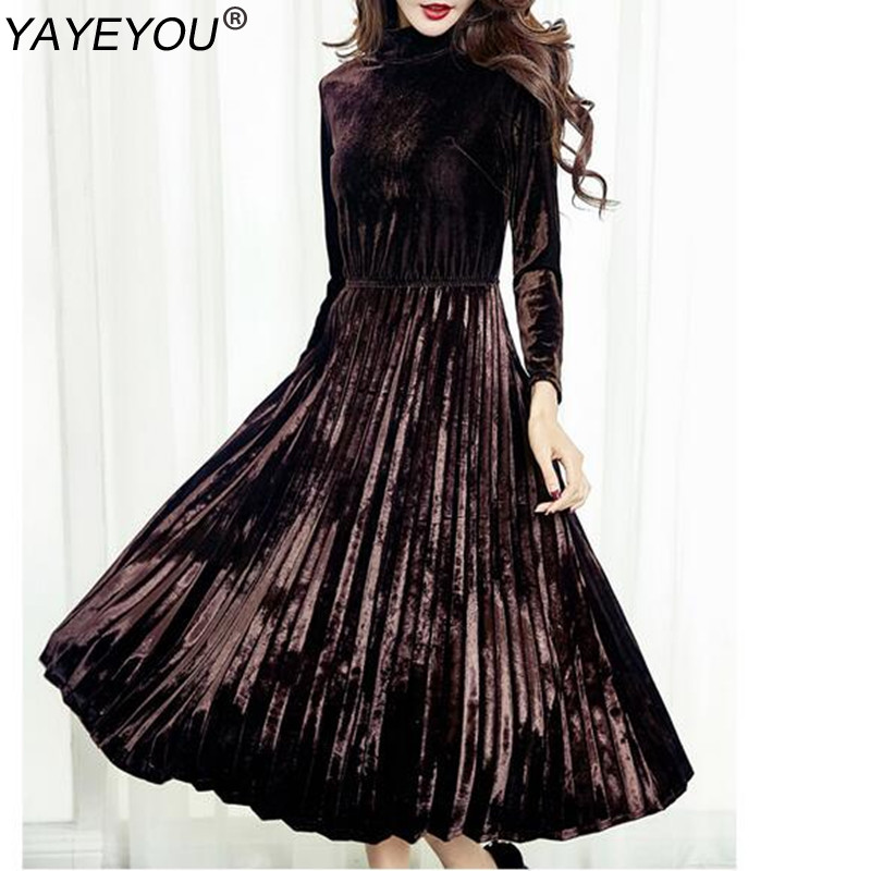 YAYEYOU Women's A-line Vintage Long Sleeve Velvet Dress