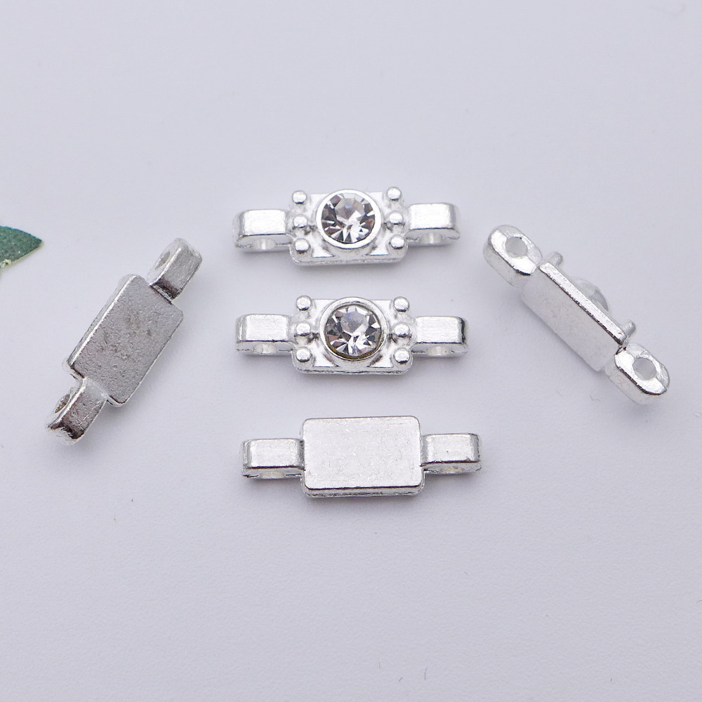 free shipping 17*5.7*4mm silver rectangle shape rhinestone connection beads with 2 holes clasp 100pcs/lot <font><b>R308</b></font> image