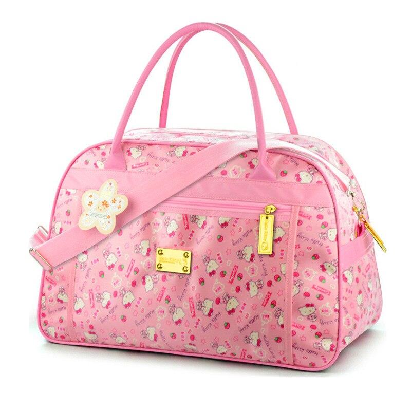 Cute Hello Kitty Cat Travel Bags Luggage Women Girls's Cartoon Tote Duffle Big Capacity Handbag Waterproof Oxford Shoulder Bag