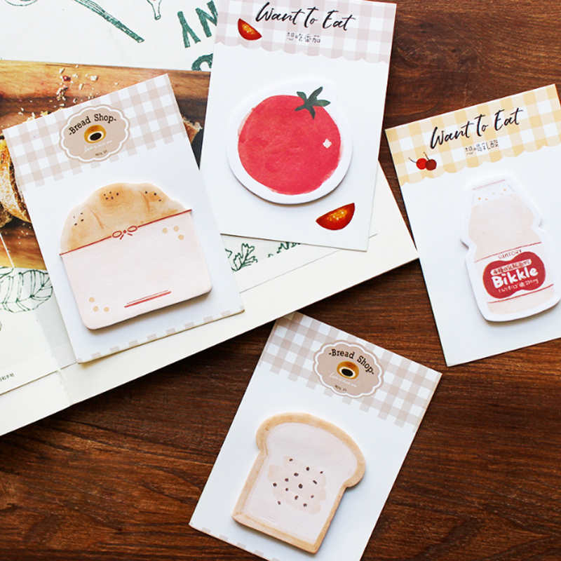 1X Cute Want To Eat Food Kawaii Sticky Notes Post Memo Pad School Supplies Planner Stickers Paper Bookmarks Office Stationery