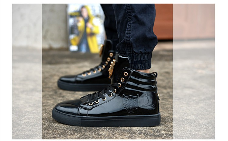 Fashion Leopard Sequined Skate Shoes For Men Ankle Boots 2015 New PU Patent Leather Shoe High Top Casual Flats Medusa Shoes F184 (20)