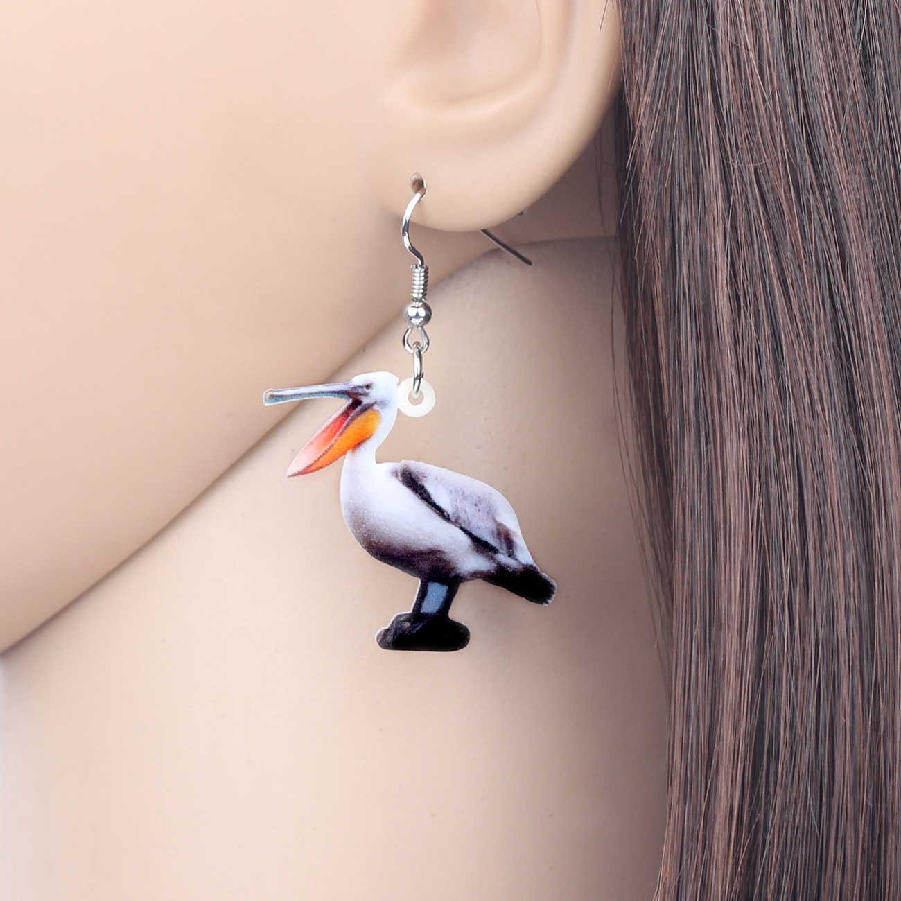 Bonsny Verklaring Acryl Novelty Pelican Vogel Oorbellen Dangle Drop Wild Dier Sieraden Gift Voor Vrouwen Meisjes Tieners Hanger Bijoux