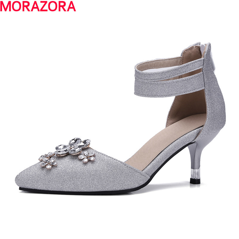 MORAZORA rhinestone Pointed toe women pumps size 34-47 high heels shoes shallow fashion sweet four seasons single shoes party