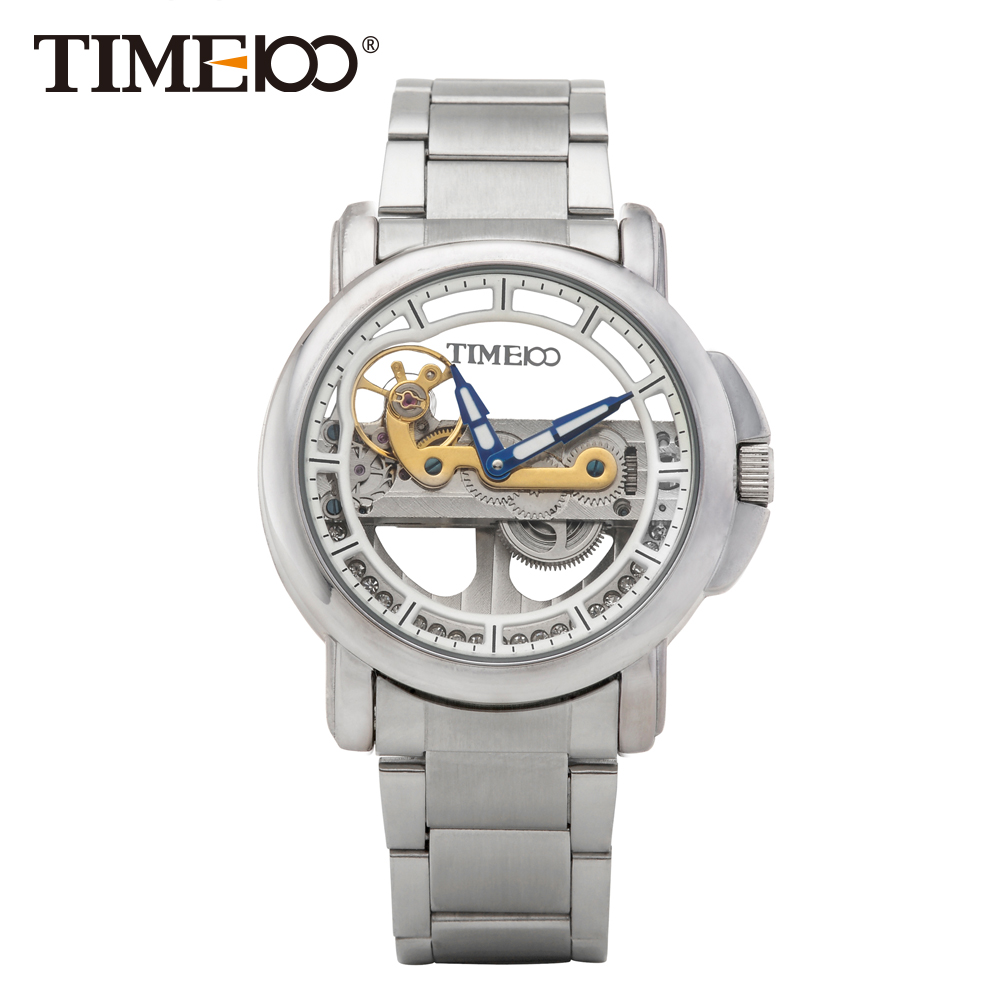 TIME100 Simple Men's Metal Dial Automatic Self-wind Skeleton Mechanical Watches Stainless Steel Strap Wrist Watch For Men Clock tevise mechanical men watch stainless steel strap automatic self wind wristwatches skeleton fashion casual clock 673s