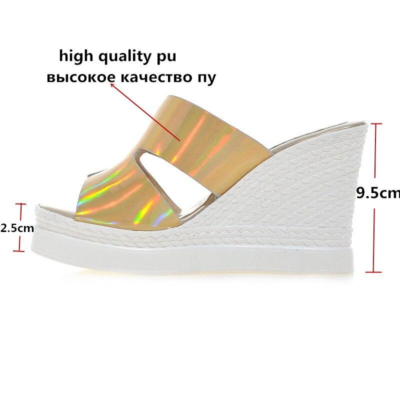 Zapatillas Hueco Moda plata Nueva Slip Plataforma Zapatos Sandalias De Cuñas Oro Verano 2019 Las Llegada Cómodas On Mujeres Boda XBwx1xCP