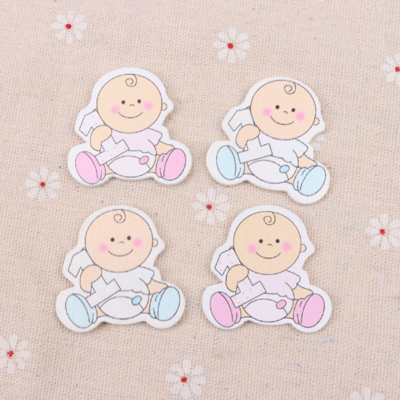Blue/Pink Baby Pattern Scrapbooking Craft DIY Embellishment For Handmade Sewing Home Decoration 35x35mm 20pcs MT0377-FD