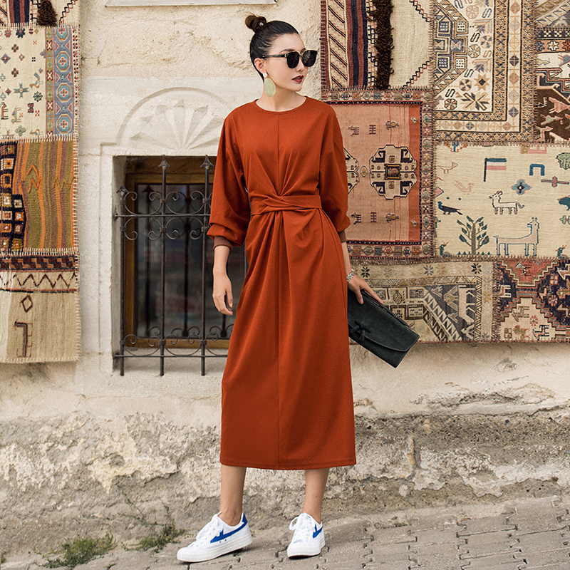 2f801eec99b VERRAGEE autumn 2018 new women loose orange solid color wrist sleeve  vintage long casual Maxi Dress